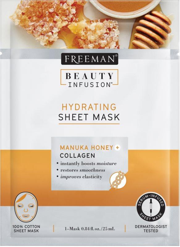 Freeman Beauty Infusion Manuka Honey + Collagen masque en tissu hydratant pour tous types de peau