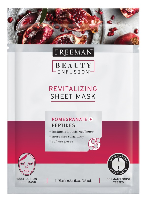 Freeman Beauty Infusion Pomegranate + Peptides revitalizační látková maska pro všechny typy pleti