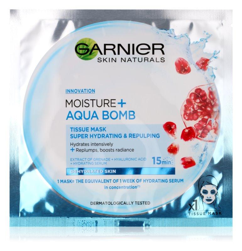 Garnier Skin Naturals Moisture+Aqua Bomb masque en tissu ultra hydratant et comblant visage