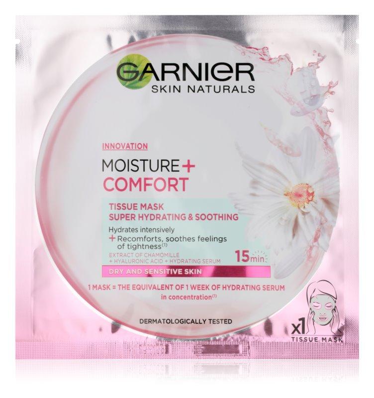 Garnier Skin Naturals Moisture+Comfort super vlažilna pomirjevalna tekstilna maska za suho in občutljivo kožo