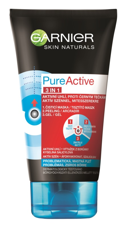 Garnier Pure Active 3-in-1 activated carbon blackhead cleanser For Oily And Problematic Skin