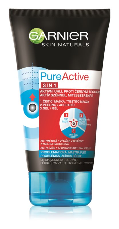 Garnier Pure Active čierna maska na tvár na čierne bodky s aktivným uhlím 3v1
