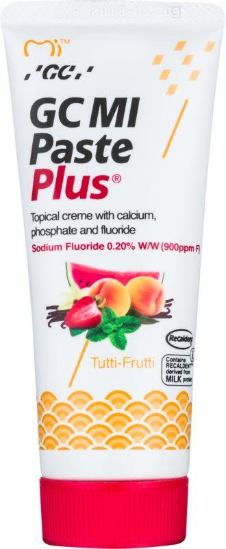 GC MI Paste Plus Tutti-Frutti crème protectrice reminéralisante pour dents sensibles au fluorure