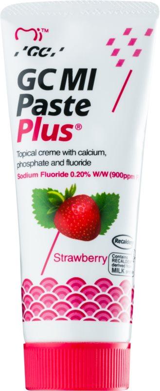 GC MI Paste Plus Strawberry crème protectrice reminéralisante pour dents sensibles au fluorure