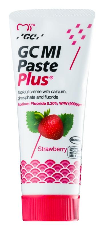 GC MI Paste Plus Strawberry remineralizačný ochranný krém pre citlivé zuby s fluoridom