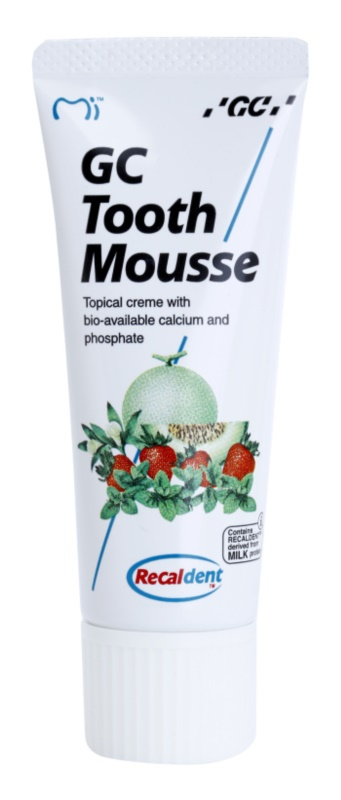 GC Tooth Mousse Tutti Frutti crema protectora remineralizante para dientes sensibles  sin flúor