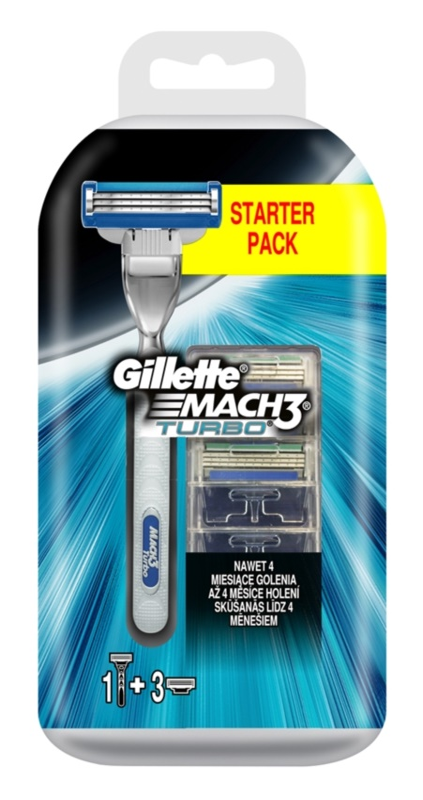 Gillette Mach 3 Turbo holicí strojek + náhradní břity 3 ks