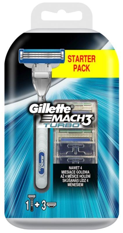 Gillette Mach 3 Turbo máquina de barbear + refil de 3 lâminas