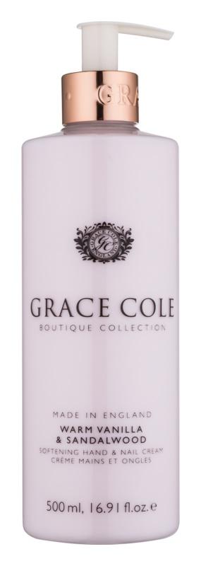 Grace Cole Boutique Warm Vanilla & Sandalwood zjemňujúci krém na ruky a nechty
