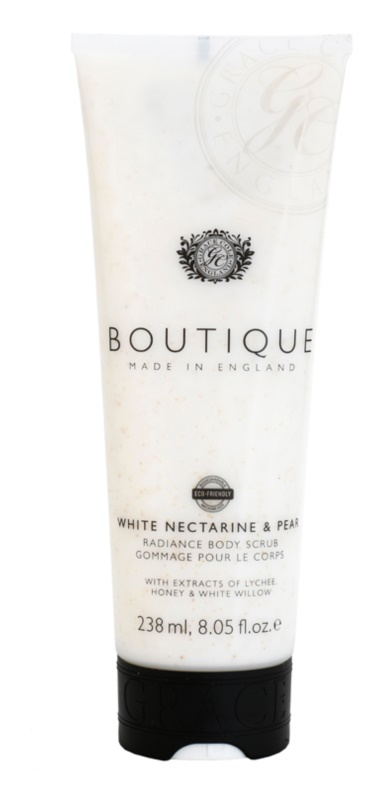Grace Cole Boutique White Nectarine & Pear озаряващ пилинг за тяло