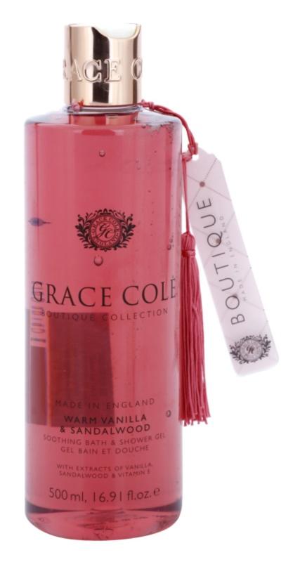 Grace Cole Boutique Warm Vanilla & Sandalwood zklidňující koupelový a sprchový gel