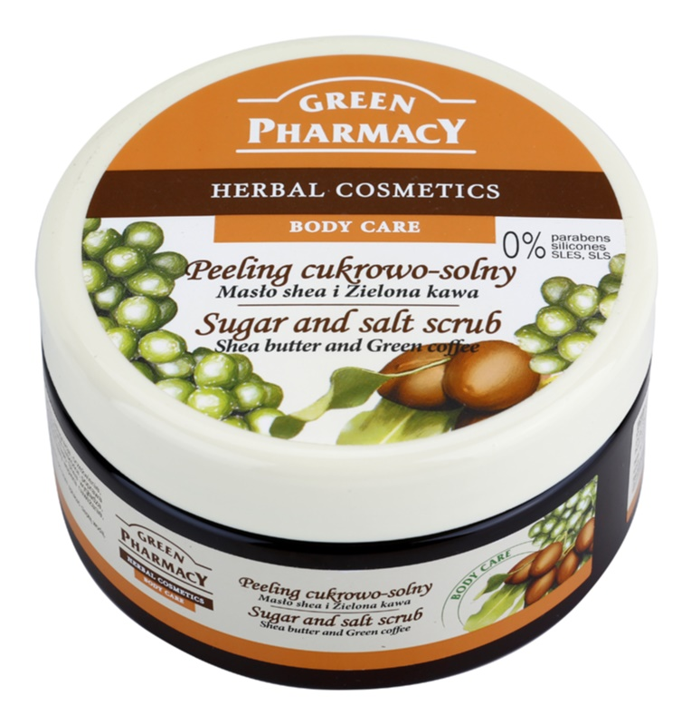Green Pharmacy Body Care Shea Butter & Green Coffee cukor és só peeling