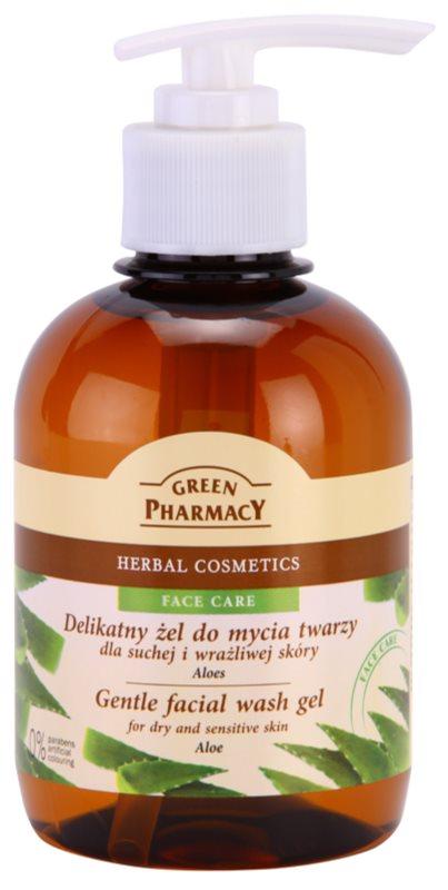 Green Pharmacy Face Care Aloe gel limpiador suave para pieles sensibles y secas
