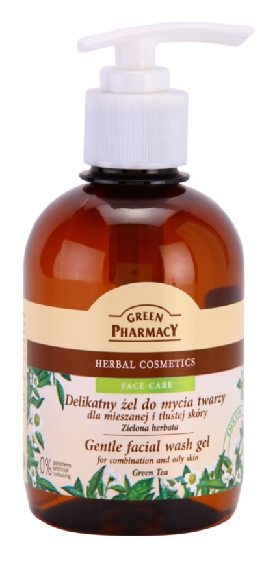 Green Pharmacy Face Care Green Tea delikatny żel oczyszczający do skóry tłustej i mieszanej