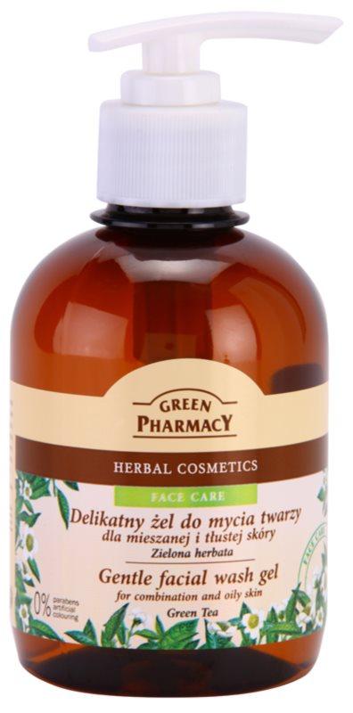 Green Pharmacy Face Care Green Tea jemný čisticí gel pro mastnou a smíšenou pleť