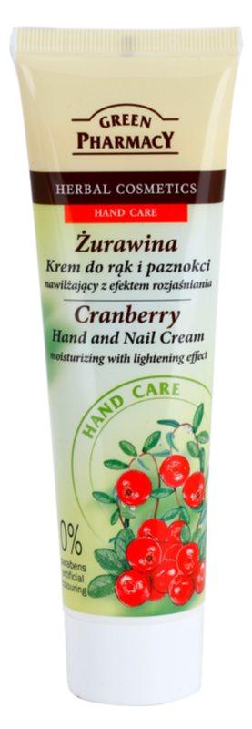 Green Pharmacy Hand Care Cranberry crema hidratante para manos y uñas con efecto iluminador
