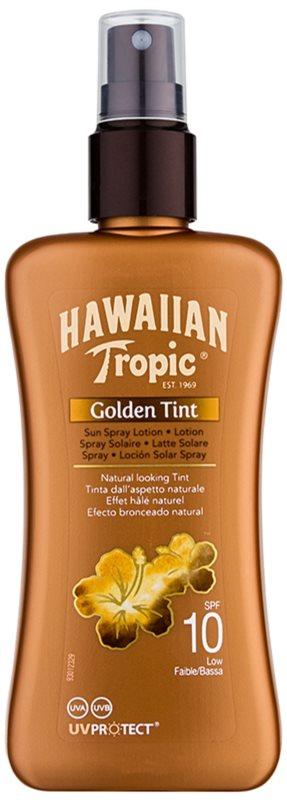 Hawaiian Tropic Golden Tint Schützende Körpermilch als Spray LSF 10
