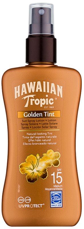 Hawaiian Tropic Golden Tint ochranné tělové mléko ve spreji SPF 15