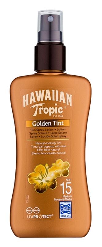 Hawaiian Tropic Golden Tint zaščitni losjon za telo v pršilu  SPF15