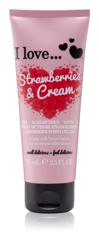 I love... Strawberries & Cream creme de mãos