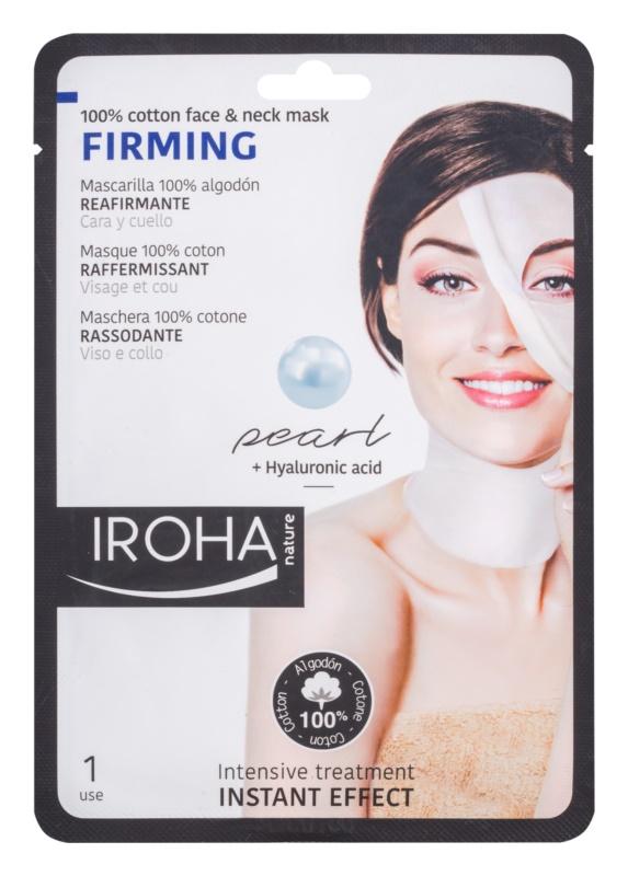Iroha Firming Pearl bavlnená maska na tvár a krk s perlovým a hyalurónovým sérom