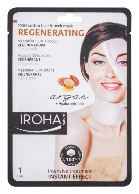Iroha Regenerating Argan bavlnená maska na tvár a krk s arganovým olejom a kyselinou hyalurónovou
