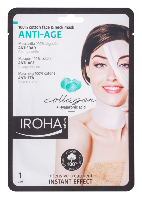 Iroha Anti - Age Collagen bavlněná maska na obličej a krk s kolagenem a hyaluronovým sérem