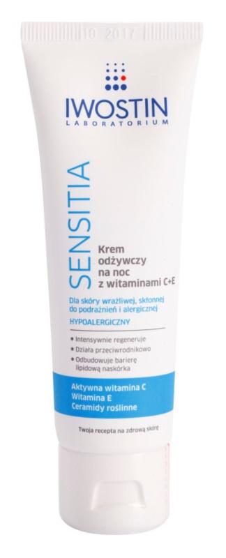 Iwostin Sensitia výživný nočný krém s vitamínmi C a E pre citlivú a alergickú pleť