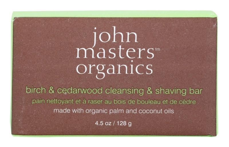 John Masters Organics Birch & Cedarwood čistiace a holiace mydlo pre mužov a ženy