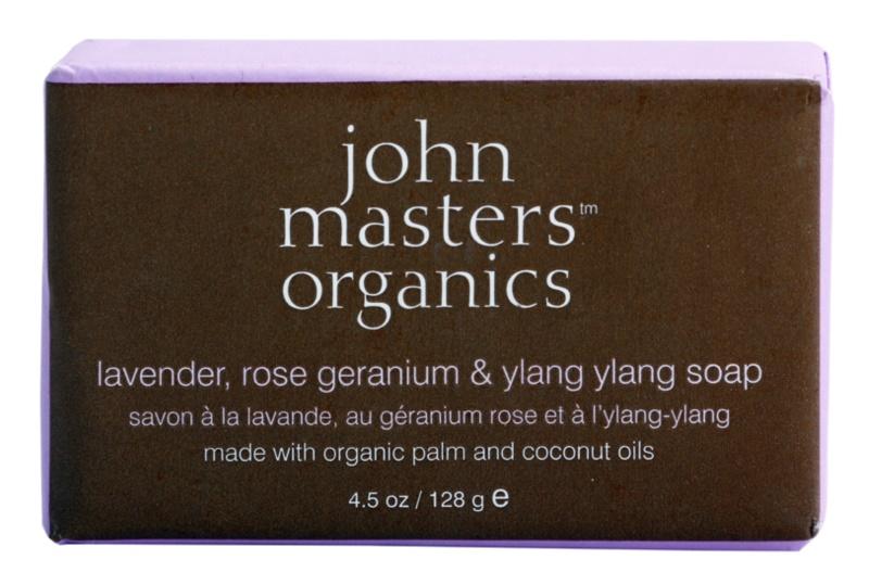 John Masters Organics Lavender Rose Geranium &  Ylang Ylang hydratační mýdlo na obličej a tělo