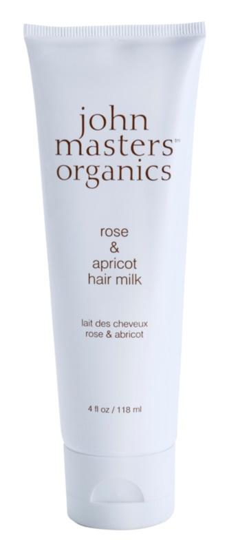 John Masters Organics Rose & Apricot öblítést nem igénylő tej a hajra a száraz hajvégekre