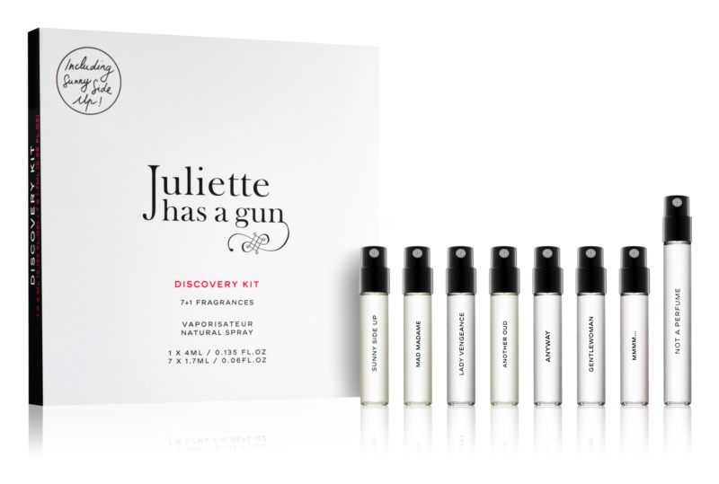 Juliette has a gun Discovery ajándékszett Not a Perfume, Mmmm..., Anyway, Sunny Side Up, Gentlewoman, Mad Madame, Lady Vengeance, Another Oud
