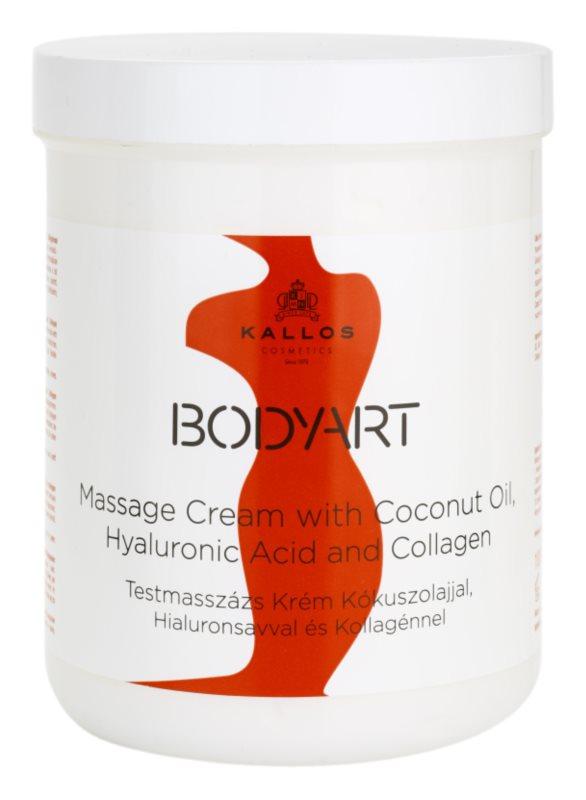 Kallos BodyArt crema para masaje con aceite de coco, ácido hialurónico y colágeno