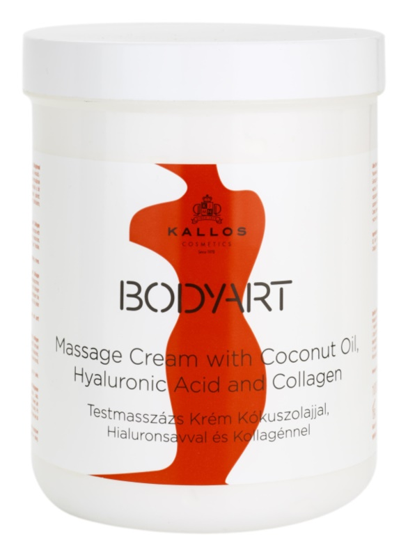 Kallos BodyArt Massage Cream With Coconut Oil, Hyaluronic Acid and Collagen