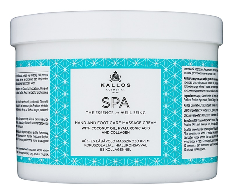 Kallos Spa Massage Cream for Hands and Feet