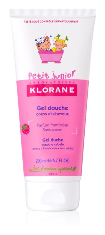 Klorane Junior gel de dus pentru corp si par cu arome de zmeura