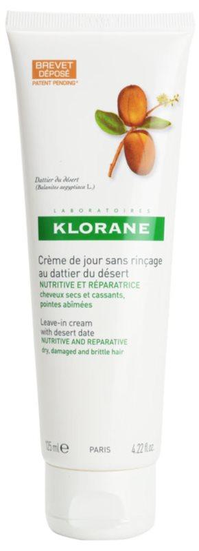 Klorane Desert Date cuidado cremoso sem enxaguar  para cabelo cansado e quebrado
