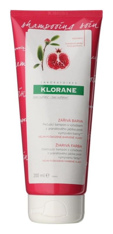 Klorane Pomegranate шампунь-догляд проти вимивання фарби для дуже пошкодженого фарбованого волосся