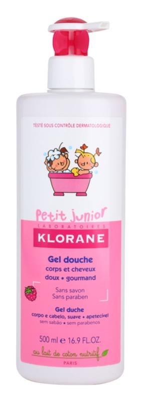 Klorane Junior gel za prhanje za telo in lase z vonjem maline