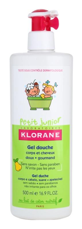 Klorane Junior żel pod prysznic do ciała i włosów o zapachu gruszki
