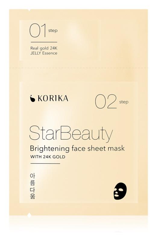 KORIKA StarBeauty maska rozświetlająca w płacie z 24-karatowym złotem
