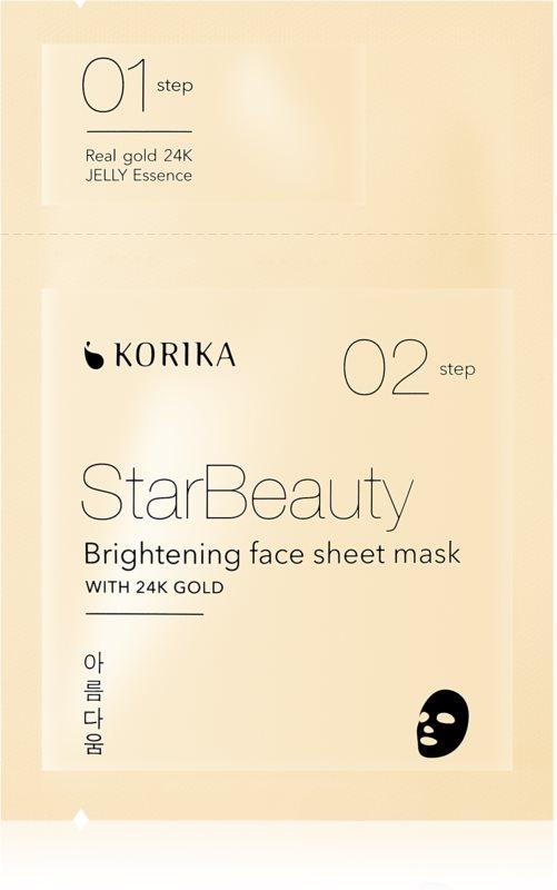 KORIKA StarBeauty rozjasňujúca plátienková maska s 24karátovým zlatom