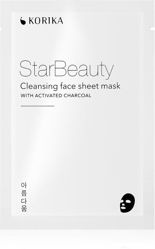 KORIKA StarBeauty čisticí plátýnková maska s aktivním uhlím