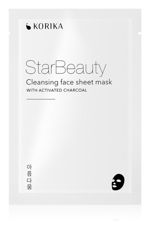 KORIKA StarBeauty masque nettoyant en tissu avec du charbon actif