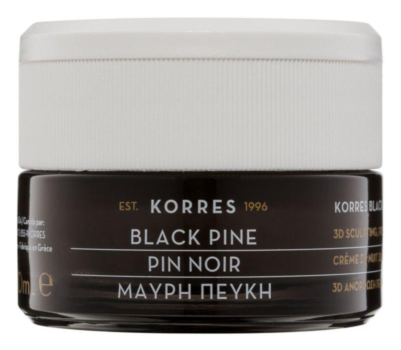 Korres Face Black Pine crema de noche reafirmante  con efecto lifting
