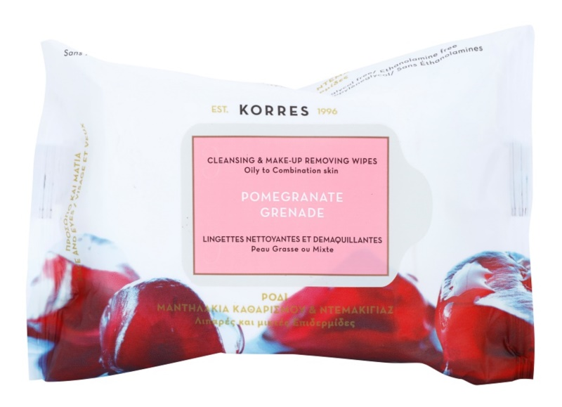 Korres Face Pomegranate Cleansing Wipes for Oily and Combiantion Skin