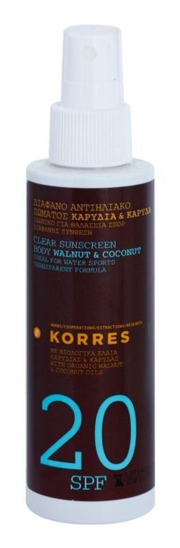 Korres Walnut & Coconut loção bronzeadora não gordurosa SPF 20