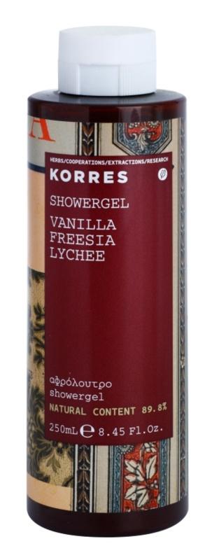 Korres Vanilla, Freesia & Lychee gel de ducha para mujer 250 ml