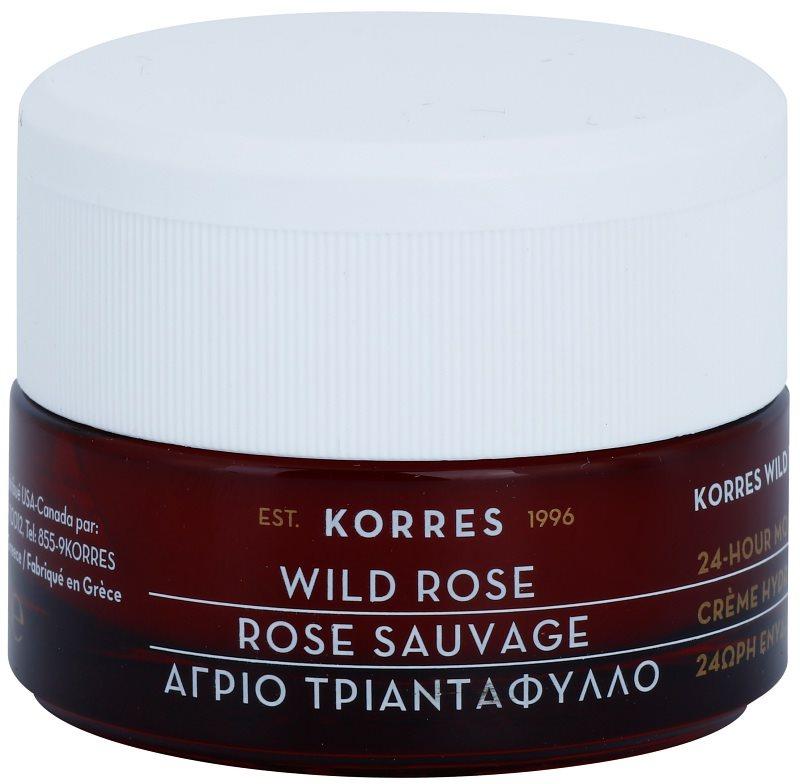 Korres Wild Rose rozjasňující a hydratační krém pro mastnou a smíšenou pleť