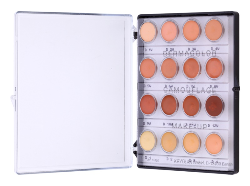 Kryolan Dermacolor Camouflage System High-Coverage Cream Concealer Mini Palette, 16 Shades